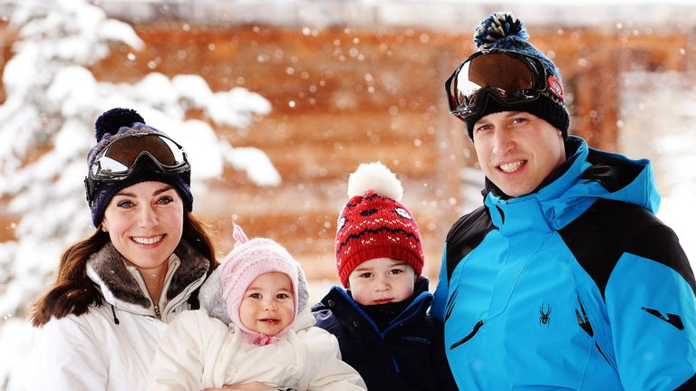 Catherine, William, Charlotte and George, enjoy a short private skiing break