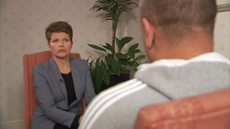 The man told Sky's Emma Birchley his football career was ruined by the abuse