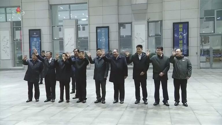 The  Chinese delegation waved enthusiastically as the North Koreans left Beijing