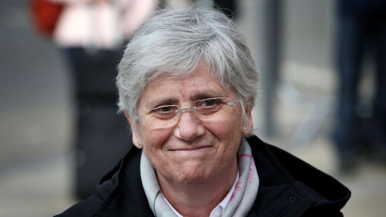 Former Catalan Minister Professor Clara Ponsati who is facing extradition to Spain attends Edinburgh police station