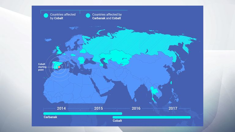 The range of countries affected by the malware. Pic: Europol