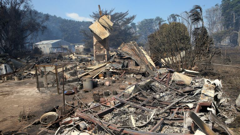 A house that has been destroyed by a bushfire can be seen near the town of Cobden, located south west of Melbourne in Australia, March 18, 2018