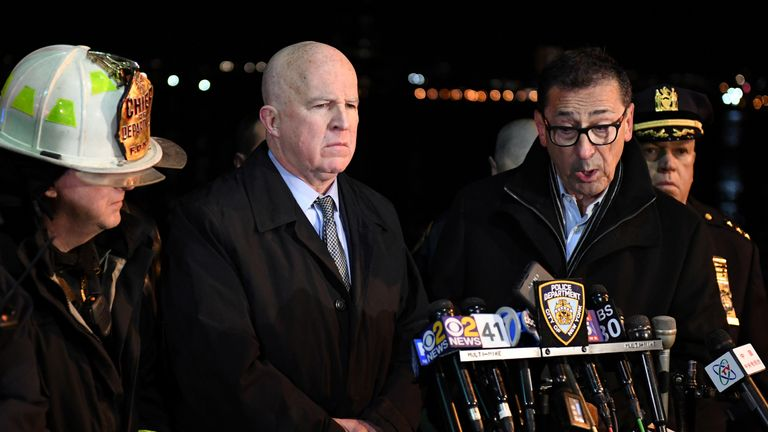 FDNY Commissioner Daniel Nigro (right) speaks during a press conference alongside NYPD Commissioner James O'Neill after a chartered Liberty Helicopters helicopter crashed into the East River in New York, U.S., March 11, 2018