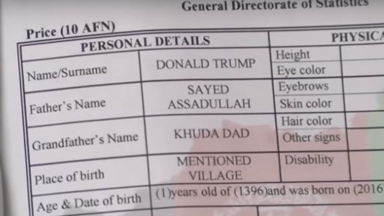 The birth certificate for Afghanistan's Donald Trump. Pic: Radio Free Europe/Radio Liberty via Storyful