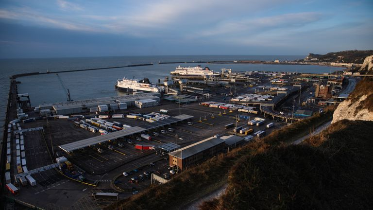 The sun rises over the Port of Dover's Eastern Docks on March 21, 2017 in Dover, England