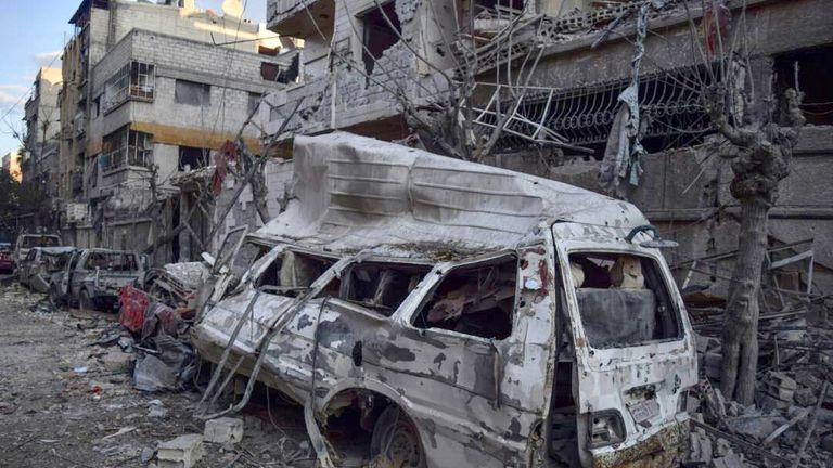 Damage from shelling on a street in Douma, Eastern Ghouta, Syria. Credit: Save The Children/Syria Relief