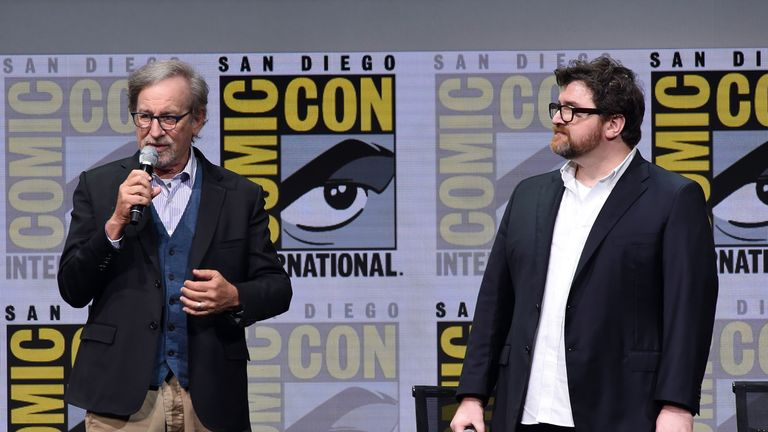 Director Steven Spielberg (L) and writer Ernest Cline attend the Warner Bros. Pictures Presentation during Comic-Con International 2017 at San Diego Convention Center on July 22, 2017 in San Diego, California