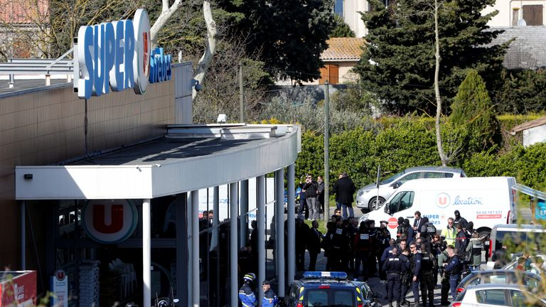 Gendarmes and police officers after the hostage situation in Trebes