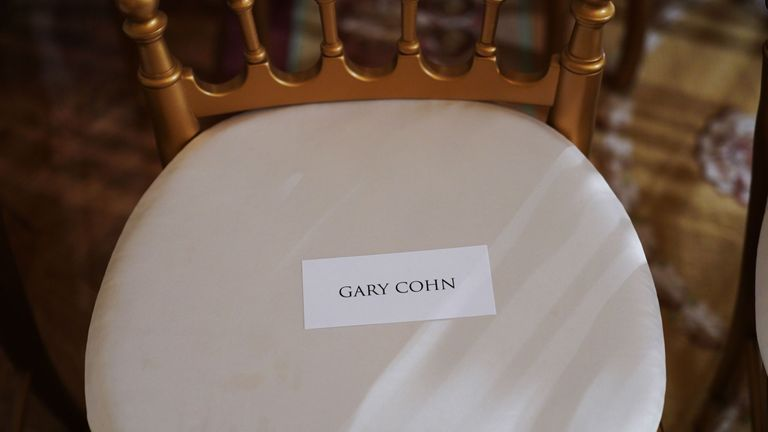 A chair marked for Director of the National Economic Council Gary Cohn was left empty during the conference