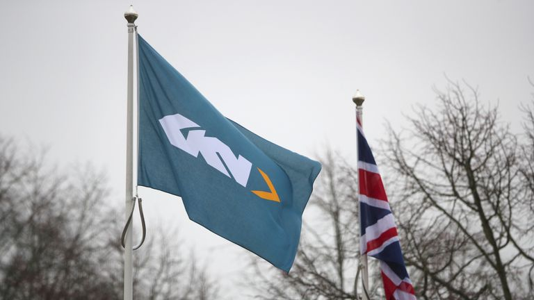 FILE PHOTO: Branding is seen outside the headquarters of GKN in Redditch