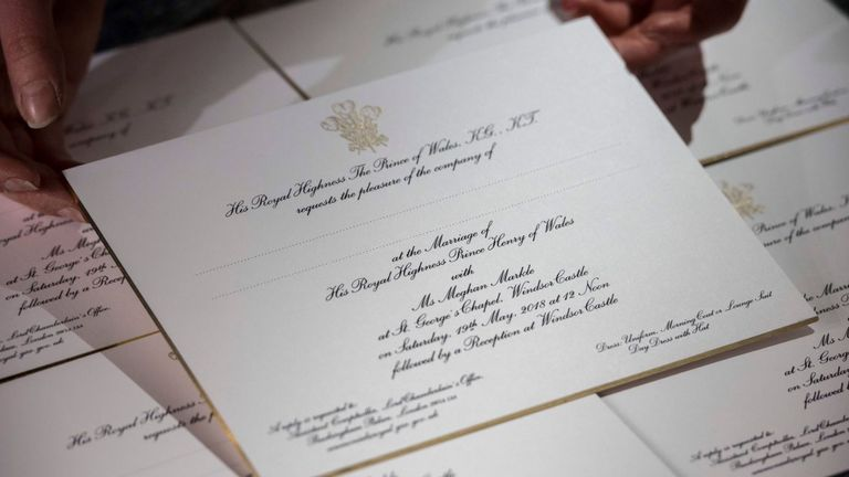 The invitations follow many years of Royal tradition and have been made by @BarnardWestwood. They feature the Three-Feathered Badge of the Prince of Wales printed in gold ink. Pic: Kensington Palace