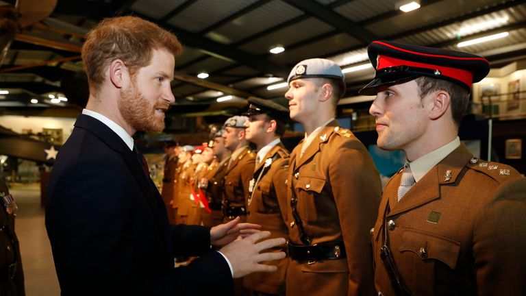 Prince Harry during a visit to the Army Aviation Centre in Middle Wallop, Hampshire