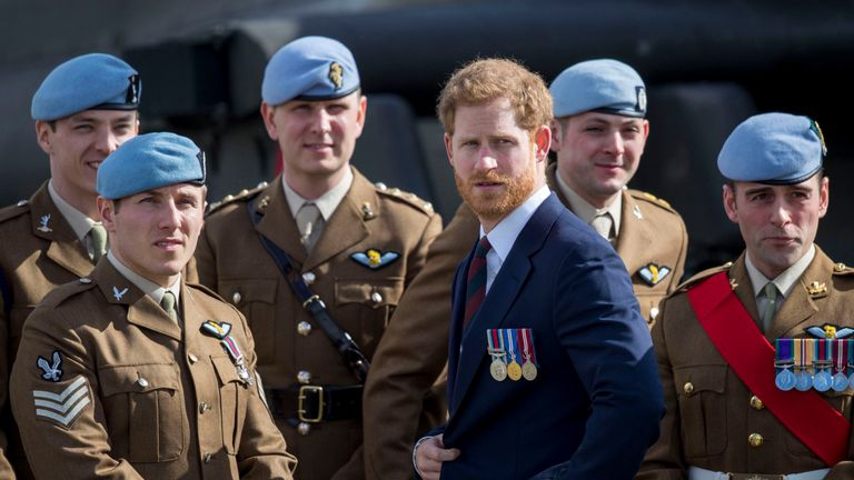 Prince Harry at the Army Aviation Centre in Middle Wallop, Hampshire,