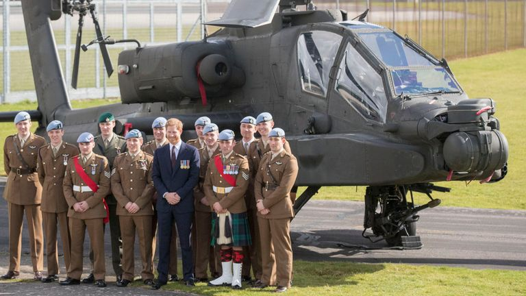 Prince Harry at the Army Aviation Centre in Middle Wallop, Hampshire