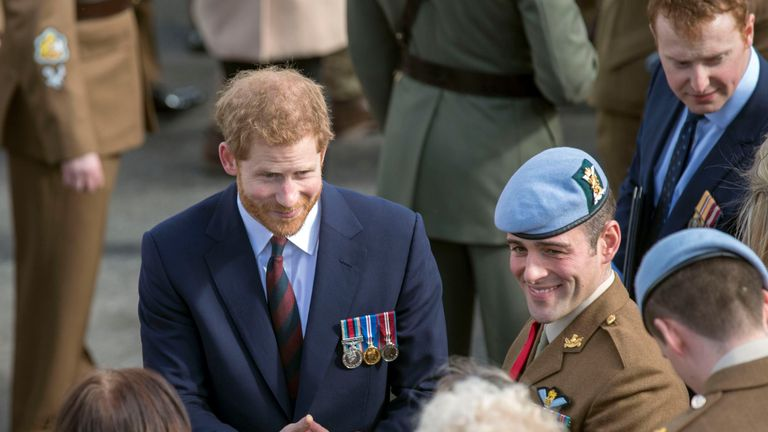 Prince Harry during a visit to the Army Aviation Centre in Middle Wallop, Hampshire,