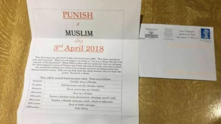 The Islamaphobic letter incites violence on a points-scoring based system