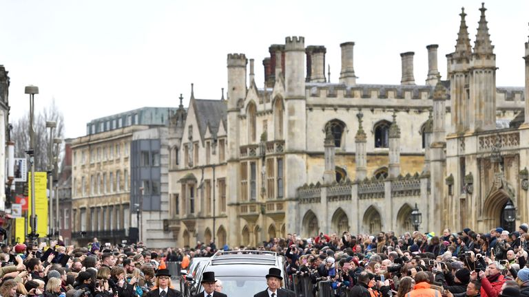 Crowds lined the streets around the church as the funeral cortege arrived