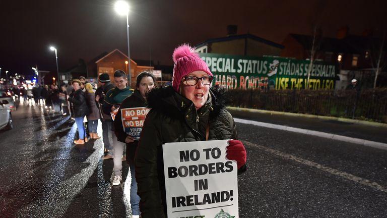 Sinn Fein hold an anti-Brexit rally on December 6, 2017 in Belfast, Northern Ireland