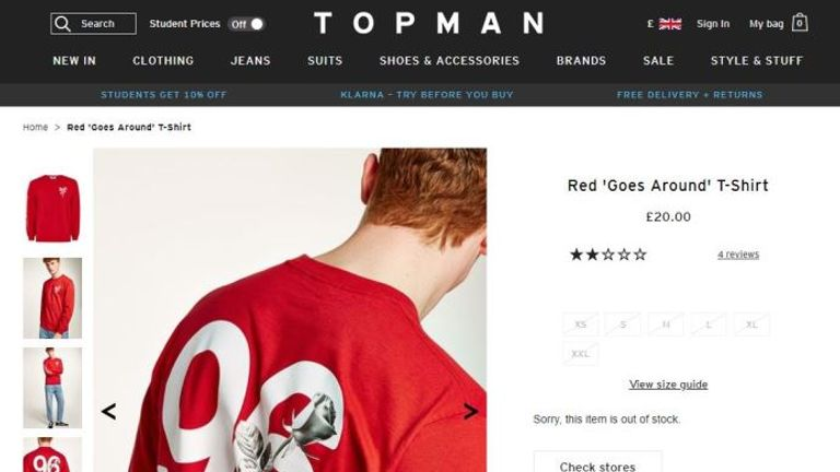 A controversial t-shirt at Topman. Pic: Topman website