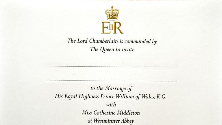 EMBARGOED ON FEBRUARY 20, 2011 00:01 GMTView dated on February 16, 2011 at the Buckingham Palace in London shows the invitation of Prince William and Kate Middleton's wedding. Prince William and Kate Middleton have invited 1,900 guests to their April 29 wedding, officials said on February 20, 2011, filling Westminster Abbey with foreign royals, family, friends and reportedly David Beckham. AFP PHOTO / POOL / John Stillwell (Photo credit should read JOHN STILLWELL/AFP/Getty Images)