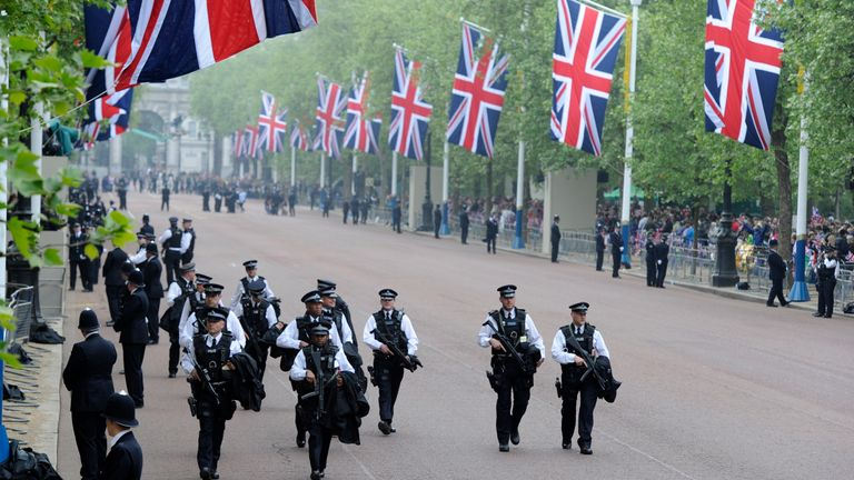 There was a heavy police presence for the wedding of Prince William and Kate