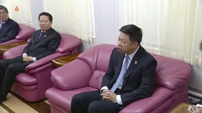 Mr Kim and the Chinese head of international affairs, Song Tao, were given extra large mauve armchairs on the train