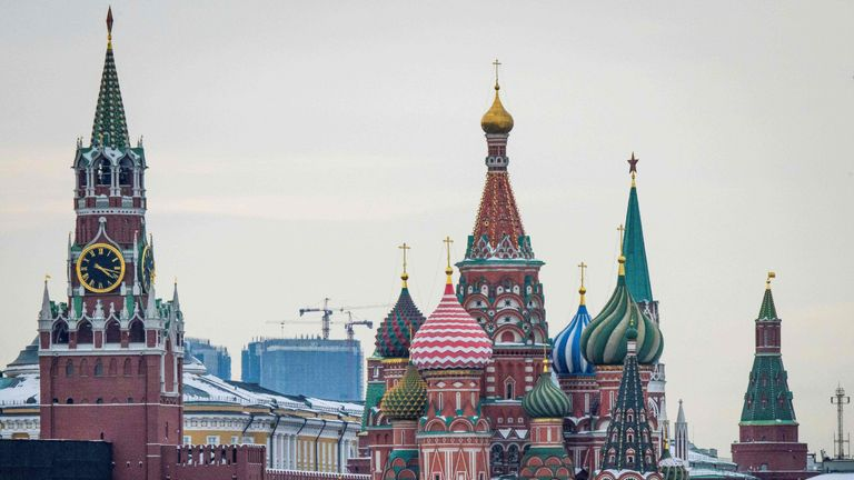 The Kremlin, St Basil's Cathedral and the Zaryadye Park in Moscow