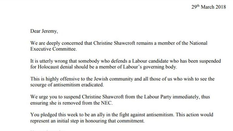 39 Labour MPs have signed a letter to Jeremy Corbyn calling for Christine Shawcroft to be suspended from the Labour Party