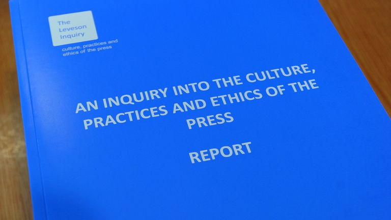 A picture shows a copy of the Leveson report into press ethics in central London on November 29, 2012.