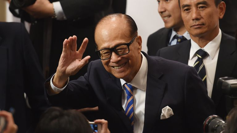 Li Ka-shing is pictured shortly after announcing his retirement