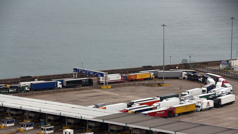 Lorries at sea port