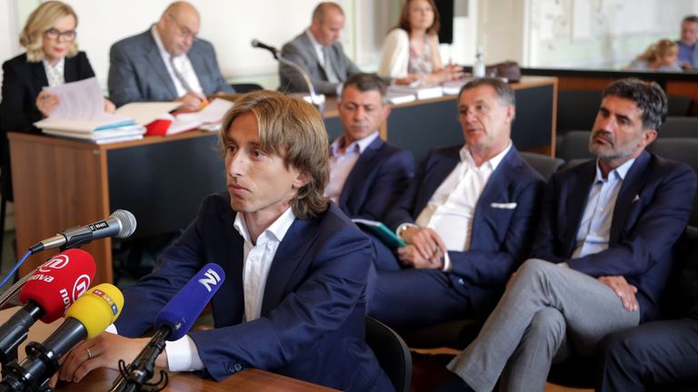 Croatia and Real Madrid midfielder Luka Modric appears in court to testify in a corruption trial in Osijek on June 13, 2017