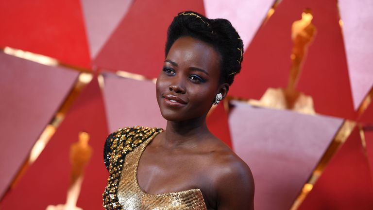 Kenyan actress Lupita Nyong'o arrives for the 90th Annual Academy Awards on March 4, 2018, in Hollywood, California