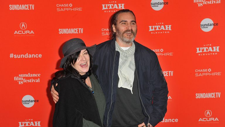 """attends the """"You Were Never Really Here"""" Premiere during the 2018 Sundance Film Festival at The Marc Theatre on January 21, 2018 in Park City, Utah."""