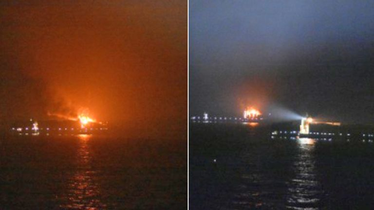 The Maersk Line ship burst into flames with 27 people on board yesterday