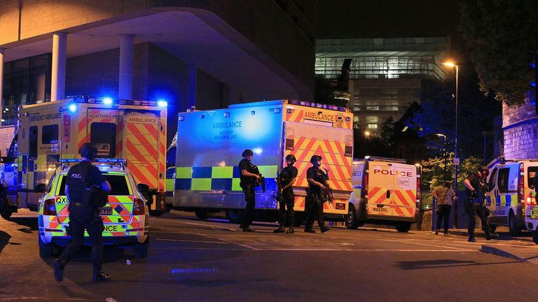 Emergency workers at the scene of the Manchester Arena terror attack