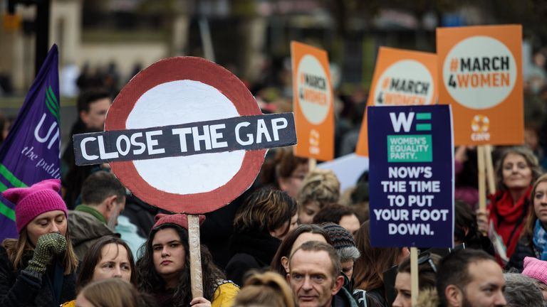 The demonstrators called for an end to discrimination in work