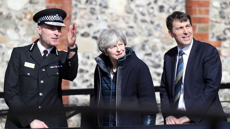 Mrs May with Wiltshire chief constable Kier Pritchard in Salisbury