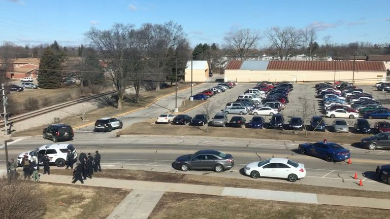 The site of shooting at Central Michigan University is seen, in Mount Pleasant, U.S., March 2, 2018 in this picture obtained from social media. Pic: Grant Polmanteer