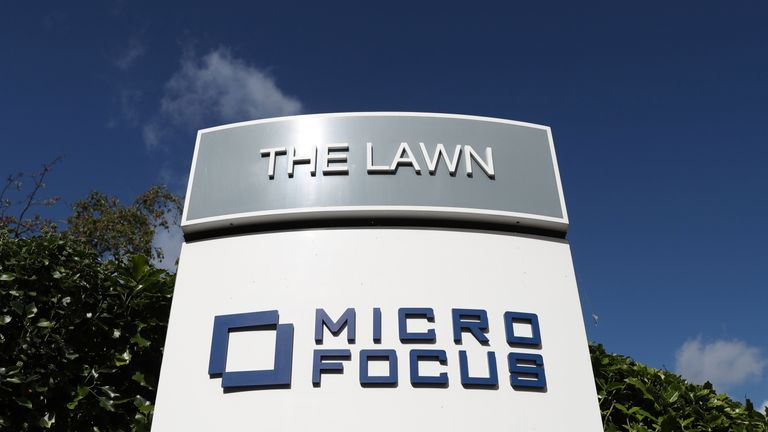 A sign stands outside the offices of Micro Focus after they and Hewlett Packard Enterprise Co announced that Hewlett Packard Enterprise Co will spin off and merge its non-core software assets with Britain's Micro Focus International in a deal worth $8.8 billion, in Newbury, Britain, September 8, 2016.