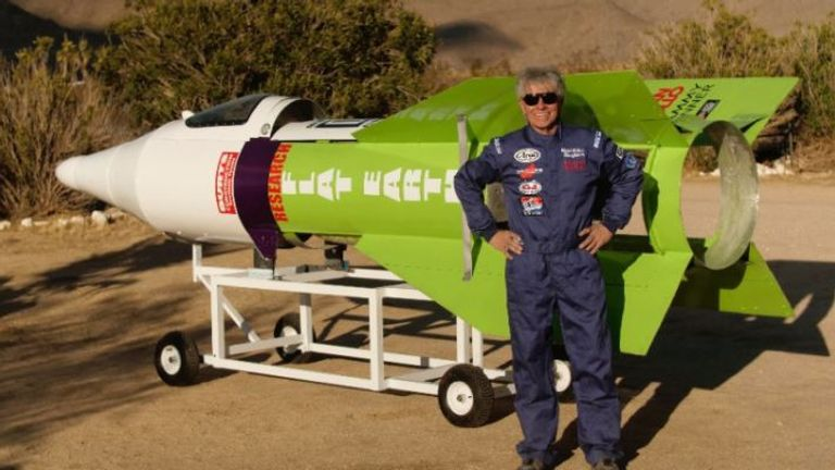 """Mad"" Mike Hughes is crowd-funding his efforts to launch himself into space. Credit: Mike Hughes/gofundme.com"