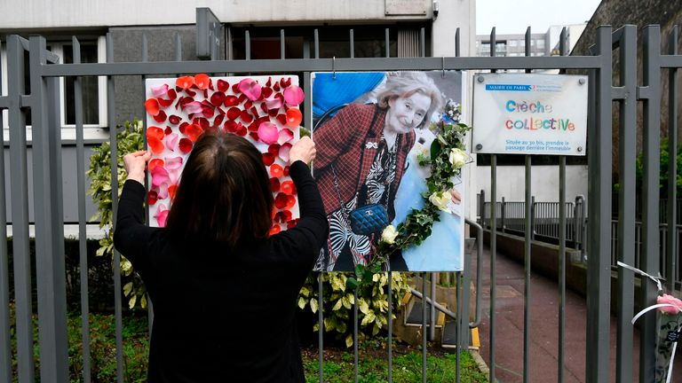 Tributes have been left outside the apartment block where Mrs Knoll lived