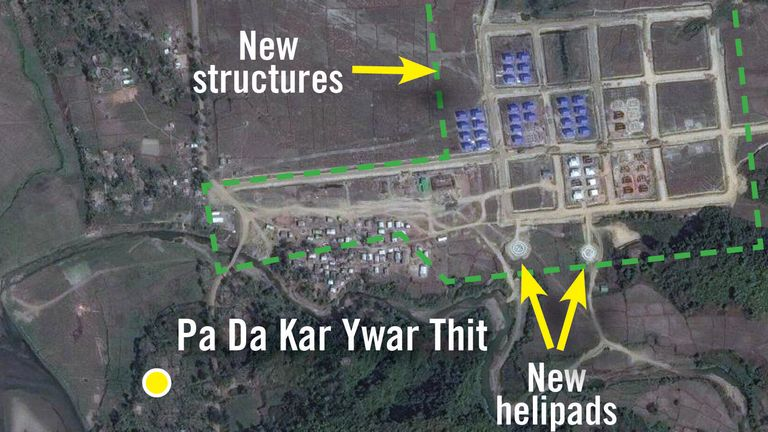 New structures and helipads can be seen next to scraped villages