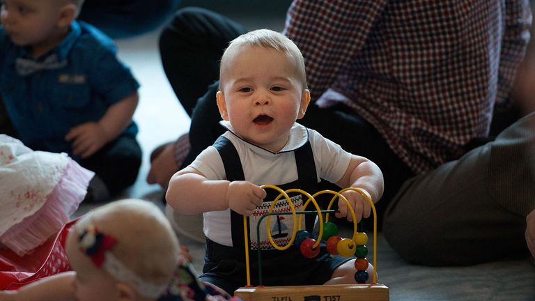 Prince George on his first crawlabout in New Zealand