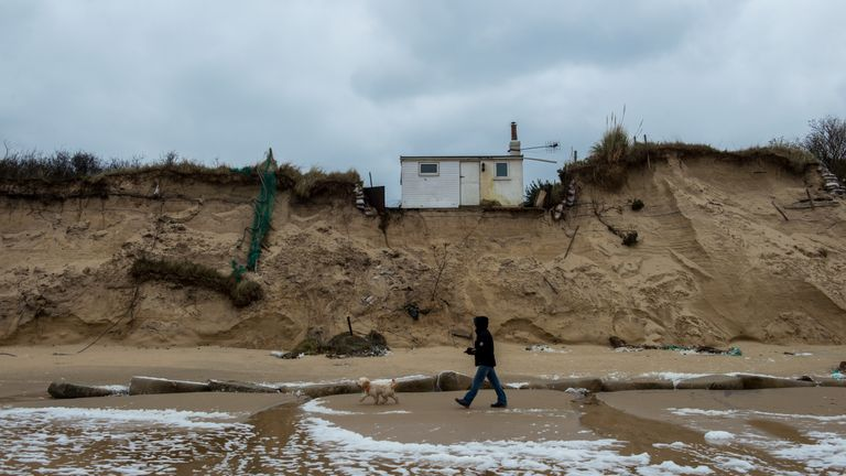 Homes in Hemsby, Norfolk, have been evacuated amid fears they could fall into the sea