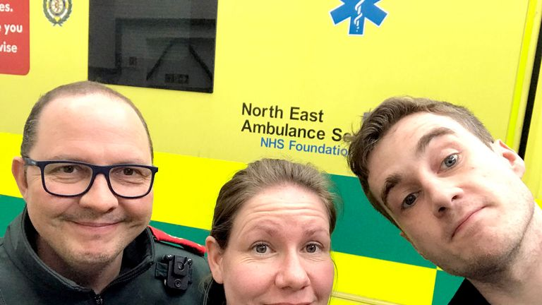 North East Ambulance Service paramedics (L-R) Dave Reynolds, Claire Roberts and Iain Stewart