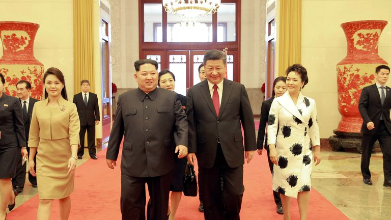 Ri Sol Ju wore a camel-coloured skirt suit to the welcome ceremony in Beijing