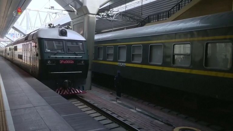 North Korea's green diplomatic train arriving at Beijing Train Station