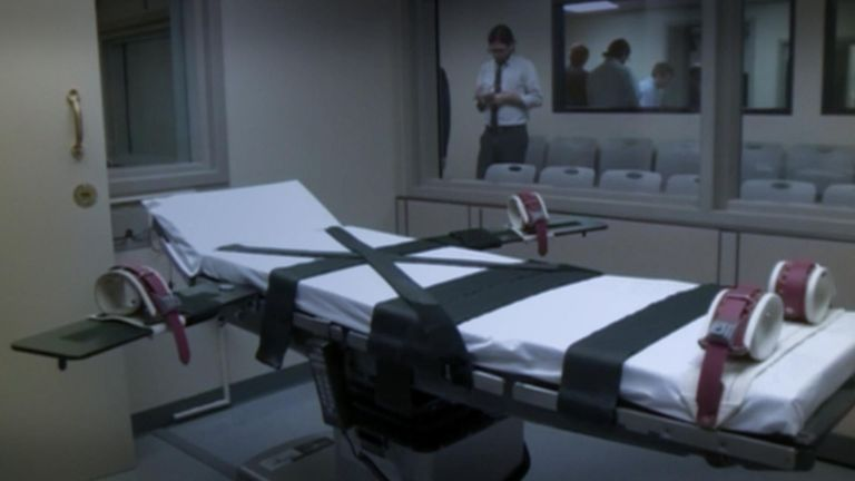 The execution chamber in Oklahoma's state penitentiary