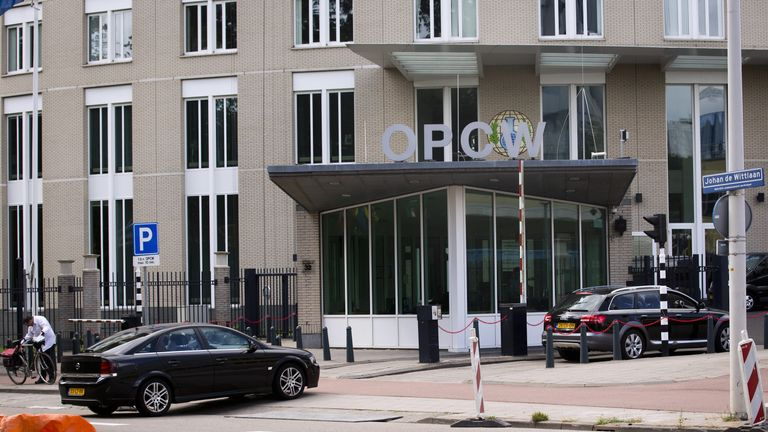 A partial view taken on August 31, 2013 shows the headquarters of the Organization for the Prohibition of Chemical Weapons (OPCW) in The Hague, The Netherlands
